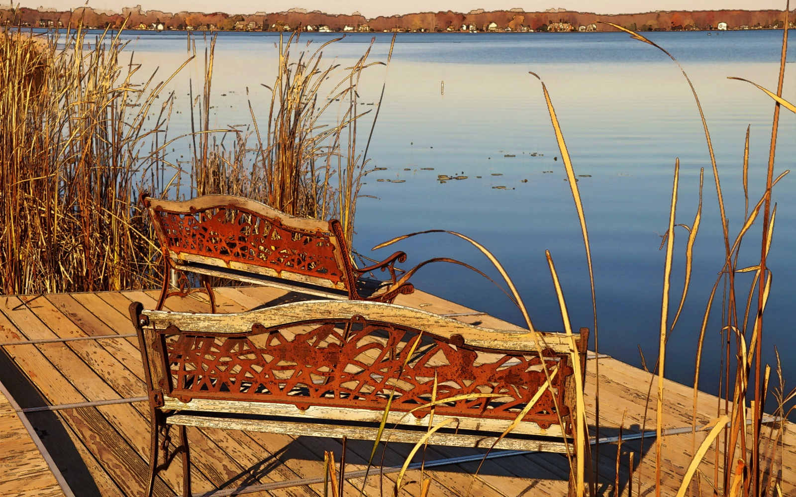 Saving When Interest Rates Are Low. Iron bench on dock by lake in the fall
